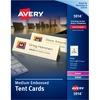 """Avery® Laser, Inkjet Tent Card - 2 1/2"""" x 8 1/2"""" - Embossed - 100 / Pack - Ivory"""