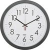 "SKILCRAFT 14.5"" Round Workstation Wall Clock - Analog - Quartz - White Main Dial - Black/Plastic Case"