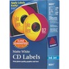 Avery® CD Labels with 200 Spine Labels - Permanent Adhesive Length - Round - Inkjet - Matte White - 2 / Sheet - 100 / Pack