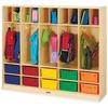 "Jonti-Craft Rainbow Accents Large Locker Organizer - 4 Tier(s) - 50.5"" Height x 60"" Width x 15"" Depth - Baltic, Assorted Tub - Wood, Medium Density Fi"