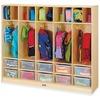"""Jonti-Craft Rainbow Accents Large Locker Organizer - 4 Tier(s) - 50.5"""" Height x 60"""" Width x 15"""" Depth - Baltic, Clear Tub - Wood, Medium Density Fiber"""