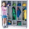 "Jonti-Craft Rainbow Accents 5-section Coat Locker - 5 Compartment(s) - 50.5"" Height x 48"" Width x 15"" Depth - Durable, Laminated, Kick Plate, Double H"