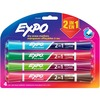 Expo 2-in-1 Dry Erase Markers - Chisel Marker Point Style - Sapphire/Aquamarine, Garnet/Green, Plum/Lime, Brown/Pink - 4 / Pack