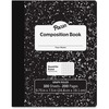 "Pacon Composition Book - 100 Sheets - 200 Pages - Quad Ruled - 0.20"" Ruled - 9.8"" x 7.5""0.1"" - White Paper - Black Marble Cover - Durable, Hard Cover"