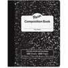 "Pacon Composition Book - 100 Sheets - 200 Pages - College Ruled - 0.28"" Ruled - 9.8"" x 7.5""0.1"" - White Paper - Black Marble Cover - Durable, Hard Cov"