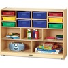 "Jonti-Craft Colored Bins Combo Mobile Storage Unit - 15 Compartment(s) - 35.5"" Height x 48"" Width x 15"" Depth - Wood Grain - 1 Each"