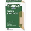 "Curad Sheer Bandage Strips - 0.75"" x 3"" - 80/Box - Sheer, Clear - Fabric"