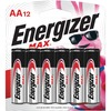 Energizer MAX Alkaline AA Batteries, 12 Pack - For Multipurpose - AA - Alkaline - 12 / Pack