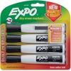 Expo Eraser Cap Magnetic Dry Erase Marker Set - Medium, Fine, Broad Marker Point - Chisel Marker Point Style - Black - 4 / Pack