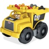 Mega Bloks Cat Dump Truck - Moveable Bin that Tilts Back to Dump Out Blocks - Includes 1 Construction Worker Figurine and 25 Blocks