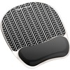 "Fellowes Photo Gel Mouse Pad Wrist Rest with Microban® - Black Chevron - Chevron - 9.25"" x 7.88"" x 0.88"" Dimension - Black, White - Gel, Polyureth"