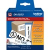 "Brother DK2223 - White Continuous Length Paper Tape - Permanent Adhesive - 2"" Width x 100 ft Length - White - Paper"