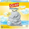 Glad ForceFlex Tall Kitchen Drawstring Trash Bags - 13 gal - 0.78 mil (20 Micron) Thickness - White - 80/Box - 80 Per Box - Kitchen, Garbage