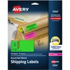 """Avery® 2""""x 4"""" Neon Shipping Labels with Sure Feed, 250 Labels (5954) - 2"""" Height x 4"""" Width - Rectangle - Laser - Neon Magenta, Neon Green, Neon Y"""