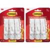 Command Strip Adhesive Hooks - 3 lb (1.36 kg) Capacity - for Paint, Wood, Tile - White - 12 / Bag