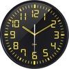 Orium Silent contrasting clock Ø30cm - Analog - Quartz - Black Main Dial - Black/Acrylonitrile Butadiene Styrene (ABS) Case