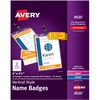 Avery® Vertical Name Badges with Durable Plastic Holders and Lanyards - Plastic - White, Black - 25 / Pack