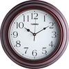 "Lorell 11-3/4"" Antique Design Wall Clock - Digital - Quartz - Brown/Plastic Case - Antique Style"
