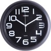 "Lorell 11-5/8"" Quiet Wall Clock - Digital - Quartz - Black/Plastic Case"