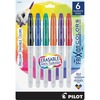 Pilot FriXion Colors Erasable Marker Pens - Bold Pen Point - 2.5 mm Pen Point Size - Black, Blue, Red, Green, Orange, Purple - White Barrel - 6 / Pack