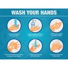"Lorell WASH YOUR HANDS 6 Steps Sign - 1 Each - WASH YOUR HANDS 6 Steps Print/Message - 8"" Width - Rectangular Shape - Easy Installation, Easy to Clean"
