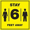 "Lorell Stay 6 Feet Away Bright Yellow Sign - 1 Each - STAY 6 FEET AWAY Print/Message - 6"" Width - Rectangular Shape - Bold Black Print/Message Color -"