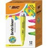 BIC Brite Liner Highlighter Tank - Chisel Marker Point Style - Yellow, Orange, Green, Pink - 12 / Pack
