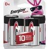Energizer MAX Alkaline D Batteries, 4 Pack - For Multipurpose - D - 1.5 V DC - 20500 mAh - Alkaline - 4 / Pack