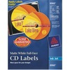Avery® Full Face CD Labels with 80 Spine Labels - Print-to-the-Edge - Permanent Adhesive Length - Round - Inkjet - White - 40 / Pack