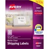 "Avery® Clear Shipping Labels, Sure Feed, 3-1/3"" x 4"" 300 Labels (15664) - Permanent Adhesive - Rectangle - Laser - Clear - Film - 6 / Sheet - 50 T"