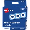 "Avery® Hole Reinforcements - 0.25"" Maximum Capacity - Round - White - 200 / Pack"