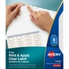 "Avery® Print & Apply Clear Label Dividers - Index Maker Easy Peel Printable Labels - 8 Blank Tab(s) - 8 Tab(s)/Set - 8.5"" Divider Width x 11"" Divi"