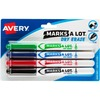 Avery® Pen-Style Dry Erase Markers, Bullet Tip, Assorted Colors, 4 Markers (24459) - Bullet Marker Point Style - Black, Red, Blue, Green - Black,