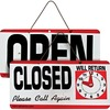 "Advantus Open/Closed Sign with Clock - 1 Each - Open/Closed, Please Call Again, Will Return Print/Message - 11.5"" Width x 6"" Height - Weather Resistan"