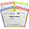 C-Line Neon Shop Ticket Holders, Stitched - Assorted, 5 Colors, Both Sides Clear, 9 x 12, 25/BX, 43910