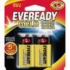 Eveready Gold Alkaline 9-Volt Batteries - For Multipurpose - 9V - 9 V DC - 565 mAh - Alkaline - 2 / Pack