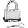 "Master Lock Warded Padlock - Keyed Different - 0.25"" Shackle Diameter - Cut Resistant, Dirt Resistant - Steel Shackle, Laminated Steel - Silver - 1 Ea"