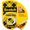 "Scotch Double-Sided Tape - 12.50 yd Length x 0.50"" Width - 1"" Core - Acrylate - Permanent Adhesive Backing - Dispenser Included - Handheld Dispenser -"