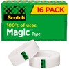 "Scotch 3/4""W Magic Tape - 27.78 yd Length x 0.75"" Width - 1"" Core - 16 / Pack - Matte Clear"