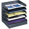 Safco Slanted Shelves Steel Desk Tray Sorter - 5 Tier(s) - Desktop - Durable - Black - Steel - 1 Each