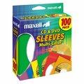 Maxell CD/DVD Storage Sleeves - Slide Insert - Paper, Plastic - Blue, Yellow, Green, Red, Orange