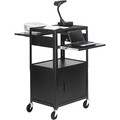 ADJUSTABLE AV CABINET CART WITH TWO SLIDE OUT ACCESSORY SHELVES. BLACK COLOR.