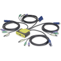 4PORT COMPACT PS2 KVM SWITCH W/ BUILT-IN 6FT CABLES AND AUDIO
