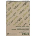 "Nature Saver Recycled Steno Book - 60 Sheets - Spiral - 6"" x 9"" - White Paper - Chipboard Cover - Back Board - Recycled - 1 / Each"