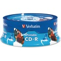 Verbatim CD-R 700MB 52X White Inkjet Printable, Hub Printable - 25pk Branded Spindle - Printable - Inkjet Printable