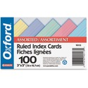 "Oxford Printable Index Card - 3"" x 5"" - 100 lb Basis Weight - 100 / Pack - Assorted"