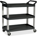 "Rubbermaid Commercial Economy Cart - 3 Shelf - 90.72 kg Capacity - 4 Casters - 4"" (101.60 mm) Caster Size - Plastic - x 33.6"" Width x 18.6"" Depth x 37.8"" Height - Black - 1 Each"