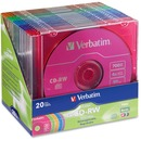 Verbatim CD-RW 700MB 2X-4X DataLifePlus with Color Branded Surface and Matching Case - 20pk Slim Case, Assorted