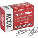 "ACCO® Economy Jumbo Paper Clips, Non-skid Finish, Jumbo Size 1-7/8"", 100/Pack"