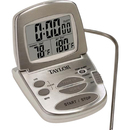 Taylor 1478-21 Programmable Digital Thermometer - Celsius, Fahrenheit Reading - Clock, Alarm - For Oven - Silver